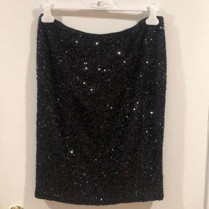 Barely used Lafayette 148 black sequin skirt